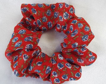 Red and blue floral chiffon hair scrunchie