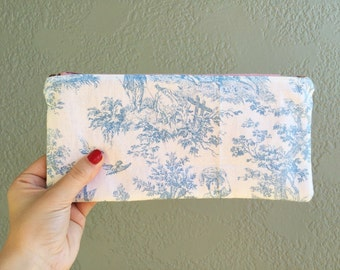 Toile Zip Pouch // Pencil Pouch // Small Zip Pouch