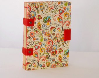 Cheerful and colorful, customizable travel book, Coptic binding, travel journal, notebook, Globe-Trotter for her book