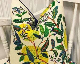 citrus garden pillow cover // f schumacher citrus garden // lemon decor // lemon pillow // yellow pillow cover