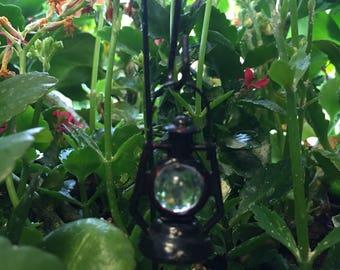 Miniature Lantern Black fairy garden accessories w/hook for terrarium miniature garden fairy garden mini garden potted plant mini decoration