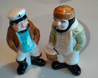 Vintage Josef Originals Salt and Pepper Shakers Sea Captain and Sailor, Made in Japan