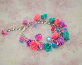 Hostess gift ideas for wife gifts girlfriend her womens bracelets polymer roses beads chains jewellery something сolorful best cute handmade