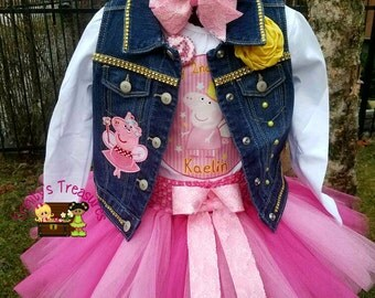 Peppa Pig Birthday Outfit, Peppa Pig Tutu, Peppa Pig Birthday Shirt, Peppa Pig Vest, Birthday Vest