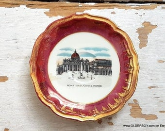 Little porcelain plate Roma BASILICA di S.Pietro in Vaticano city souvenir from Roma coasters wedding ring plate from Vatican I06/801