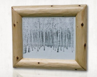 Rustic Hand Hewn Cedar Log Picture Frame