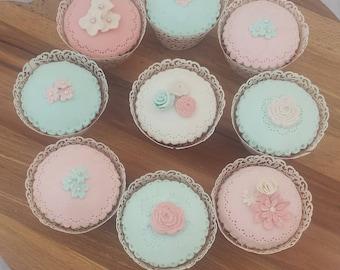 Blush and mint fake cupcakes, fake cakes,