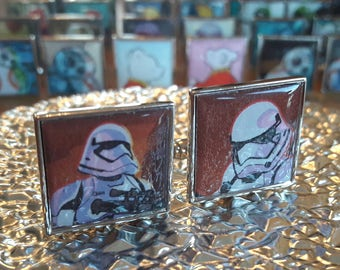 Unique Recycled Comic Book 'Stormtrooper' Square Comic Cufflinks - Upcycled & Unique Comic Cufflinks