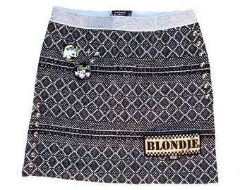 Girl's skirt Plaid skirt Girl's clothes Blondie Girl's clothes Size 6 girls Studded girl skirt Patched girl skirt Toddler girl clothes Band