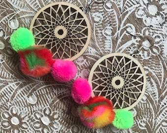 rainbow and wooden pompom festival boho earrings