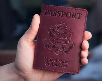 Passport Cover - Passport Holder - Purple Leather Passport Case