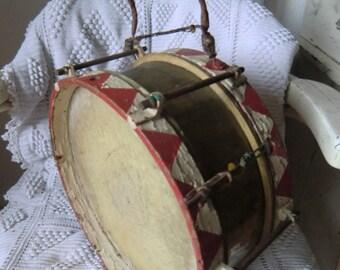 Old vintage brass drum franske danske shabby