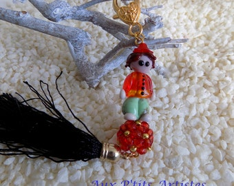 "Key ring, jewel bag, ""Théo"" lampwork glass bead"