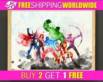 Avengers Watercolor Art Print Marvel Superhero Poster House Wear Wall Decor Gift Linen Print - Avengers - FREE SHIPPING - 111s2g
