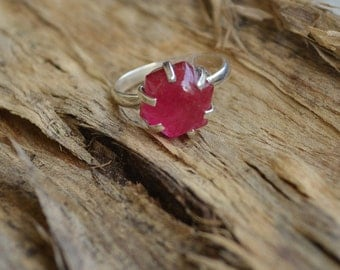 Natural Red Ruby Gemstone 925 Sterling Silver Ring Size 7.5, Handmade Artisan Ring Jewelry,  Red Ruby Gemstone Ring 7.5