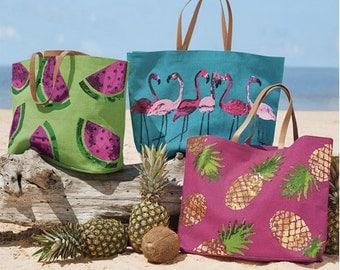 Tropical Dazzle Jute Tote ~ Mud Pie Jute Tote ~ Beach totes
