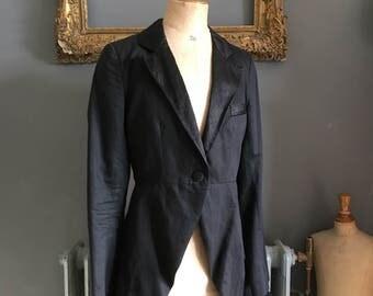 Vintage Jigsaw black cotton linen mix long jacket with tails size UK 10