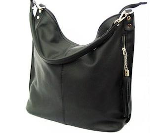 Black LEATHER HOBO BAG, Everyday Leather Shoulder Bag, Leather tassel