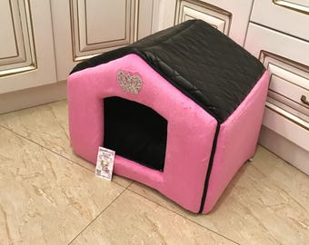 Pink and black house for dog Designer pet house with crown sparklings Princess dog bed Cat bed Custom made dog bed Puppy house S M  dog