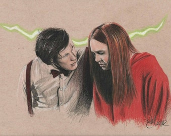 Original Colored Sketch of the Doctor and Amy Pond