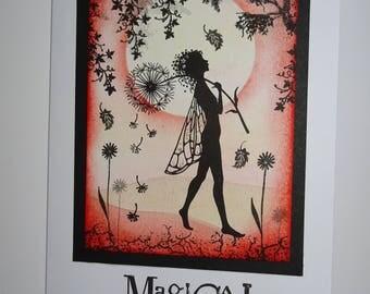 Fairy card, Orange fairy card, Frameable card, Frameable art, Fairy artwork, Magical card,