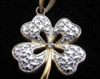 Gold Vermeil Two Toned Sterling Silver Four Leaf Clover Charm Pendant*925*D359