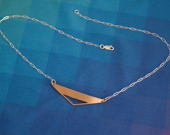 Bronze Triangle Necklace, Bronze Triangle Cut Out