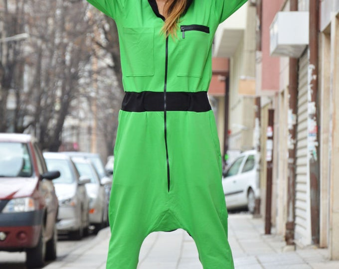 Hooded Drop Crotch Jumpsuit, Sexy Extravagant Loose Jumpsuit, Low Bottom Party Jumpsuit By SSDfashion