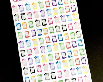 Cell Phones with Bows Sticker Set - S021