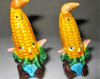 Vintage Corn Cob Salt and Pepper Shakers Japan Midcentury Collectible China