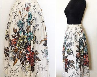Original Vintage 1950's Floral Cotton Skirt, 50's Floral Skirt, Vintage 1950's Floral Skirt, Original 50's Cotton Skirt, Size: Small