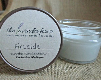 fireside // hand-poured 4oz jelly jar soy candle // natural soy wax // highly scented // rustic