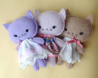 Cute kawaii cashmere kitten cat gift soft toy in vintage lace dress