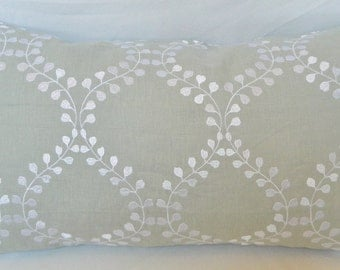 Robert Allen Winding Leaves-Decorative Pillow Cover / Embroidered Linen Fabric / All Size Available