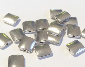 20-Antique Silver Flat Square beads,  10mm silver spacers,  tibetan silver,Antique Silver beads,silver metal beads, (SP304) Ships US