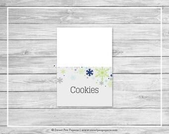Winter Baby Shower Buffet Labels - Printable Baby Shower Buffet Labels - Baby It's Cold Outside Baby Shower - Food Labels - EDITABLE - SP142
