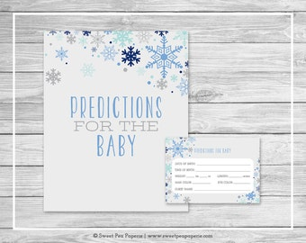 Winter Baby Shower Predictions for Baby - Printable Baby Shower Predictions for Baby - Baby It's Cold Outside Shower - Predictions - SP144