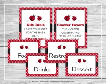 Ladybug Baby Shower Table Signs - Printable Baby Shower Table Signs - Ladybug Baby Shower - Baby Shower Table Signs - EDITABLE - SP140