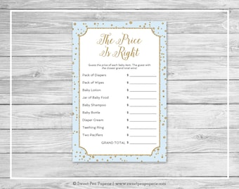 Blue and Gold Baby Shower Price Is Right Game - Printable Baby Shower Price Is Right Game - Blue and Gold Confetti Baby Shower - SP146