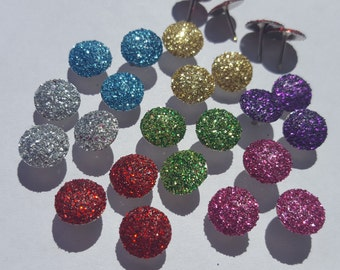 Glitter Thumbtack, Flat Push Pins, Office Supplies, Thumbtacks, (Your Choice of Color)