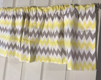 yellow and brown chevron large zig zag kitchen curtain valance