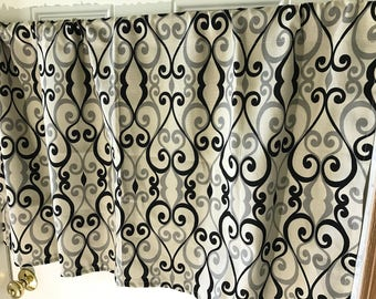 Tan and Black Scroll  curtain  panels choose size