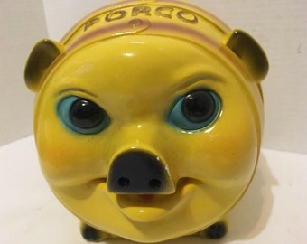 Vintage PORCO Chalkware Piggy Bank Pig Yellow