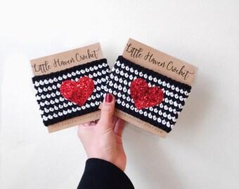 Glitter Red Heart Crochet Coffee Cozy