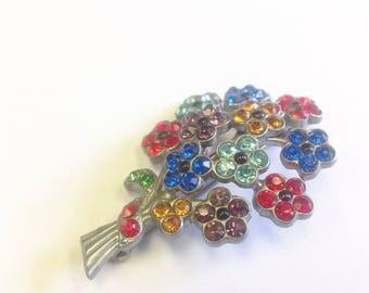Vintage, Art Deco, multicoloured paste, flower spray brooch.