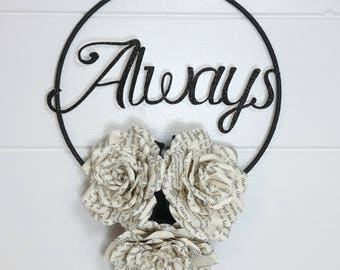 Name wall hanging, flower decor, ring of roses, personalised gift, girls bedroom, flower wreath, flower hoop