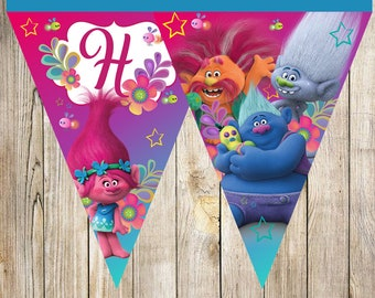 Trolls Triangle Banner instant download, Printable Trolls Triangle Banner,Trolls Party Banner, Trolls printable