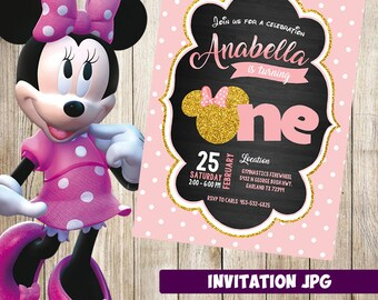 Minnie Mouse Birthday party invitation, Hot Red, pink, Red Minnie Mouse invitation, First, 1st Birthday, Printable Invitation