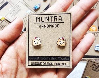 PUDDING STUD EARRINGS - Pudding Earrings,Stud Earrings,Cute Stud earrings Resin Jewelry Resin Earrings,Pudding Jewelry,Earrings Handmade