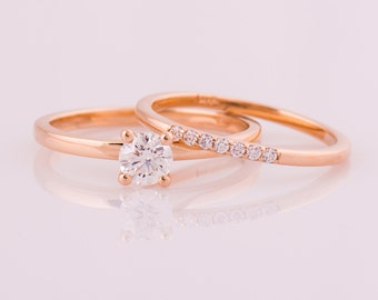 Rose Gold Diamond Set, 14k Rose Gold Wedding Rings, Diamonds Engagement Set, Delicate Wedding Set, Dainty Wedding Rings, Diamond Engagement